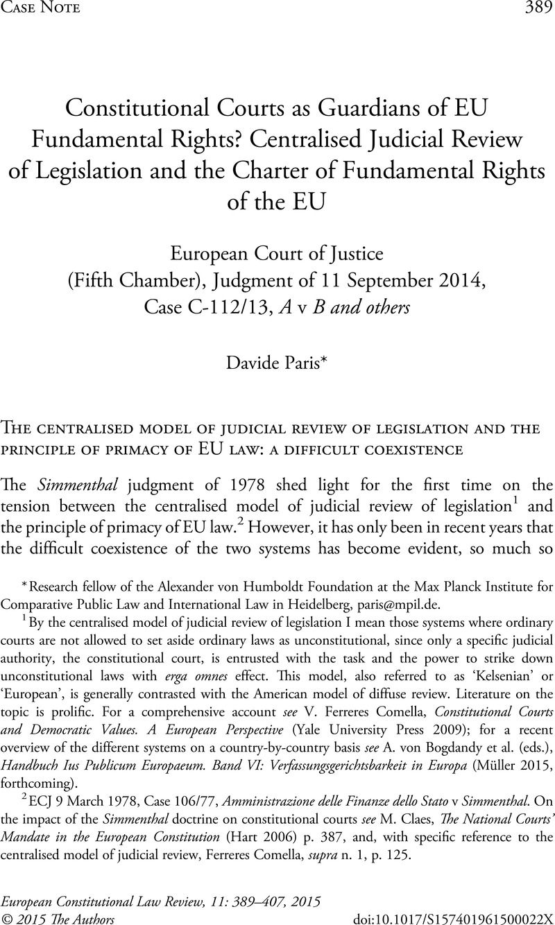 Constitutional Courts as Guardians of EU Fundamental Rights? Centralised  Judicial Review of Legislation and the Charter of Fundamental Rights of the  EU: ...
