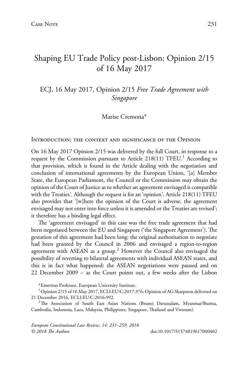 Shaping Eu Trade Policy Post Lisbon Opinion 215 Of 16 May 2017