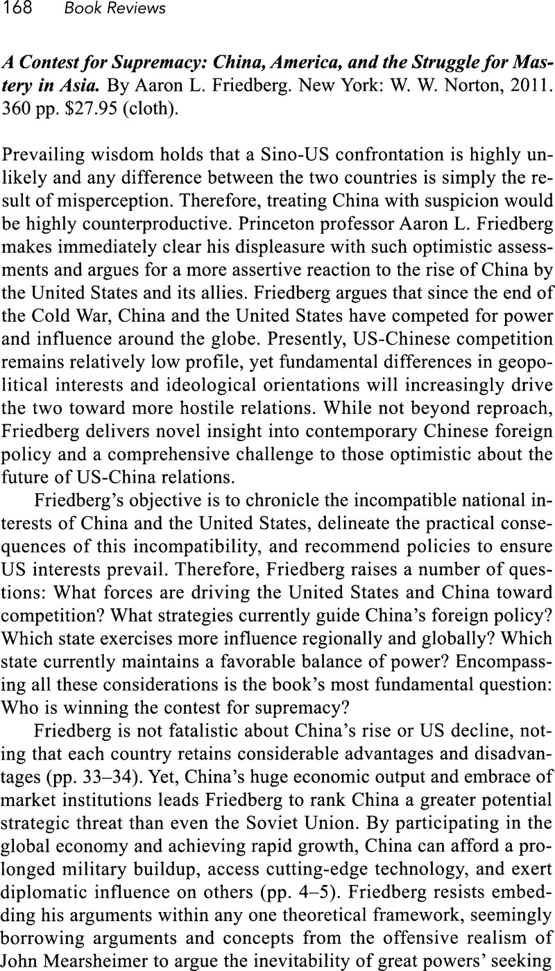 A Contest for Supremacy: China, America, and the Struggle