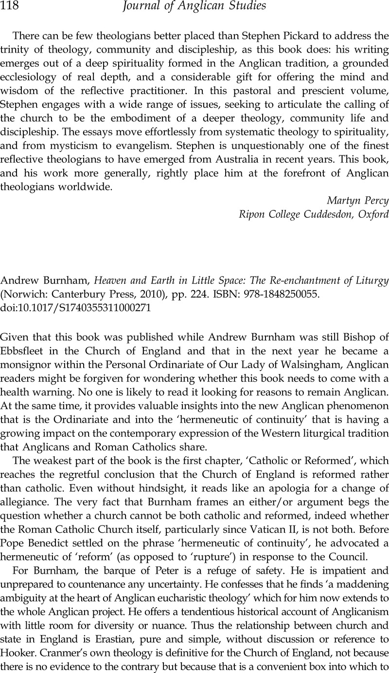 Andrew Burnham, Heaven and Earth in Little Space: The Re-enchantment