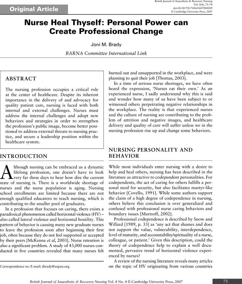 nurse heal thyself personal power can create professional change