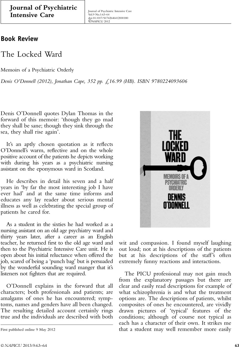 The Locked Ward Memoirs Of A Psychiatric Orderly Denis Odonnell
