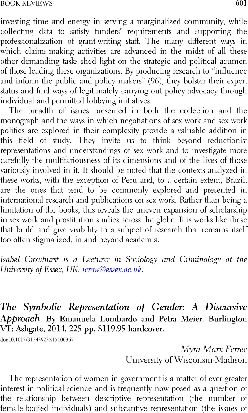The Symbolic Representation Of Gender A Discursive Approach By