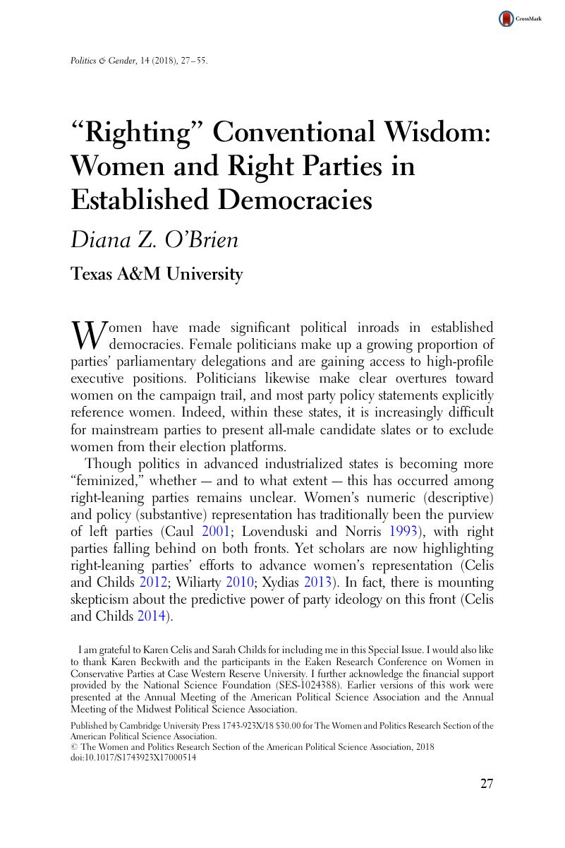Trouble With Conventional Wisdom Is >> Righting Conventional Wisdom Women And Right Parties In