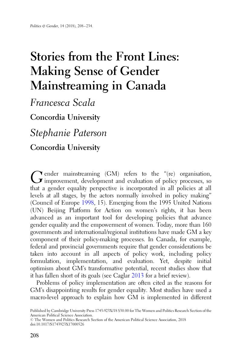 Stories from the Front Lines: Making Sense of Gender Mainstreaming in Canada