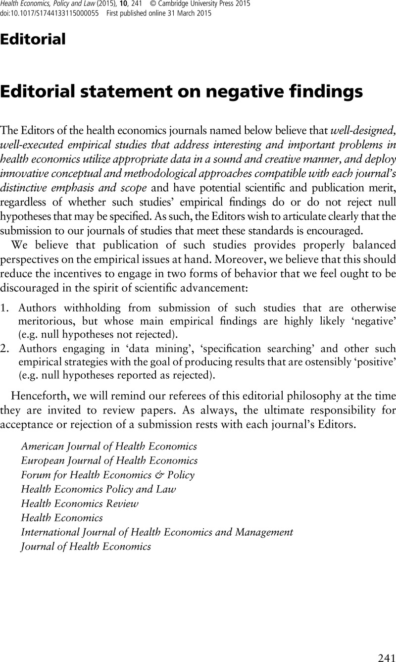 Editorial Statement On Negative Findings Health Economics Policy
