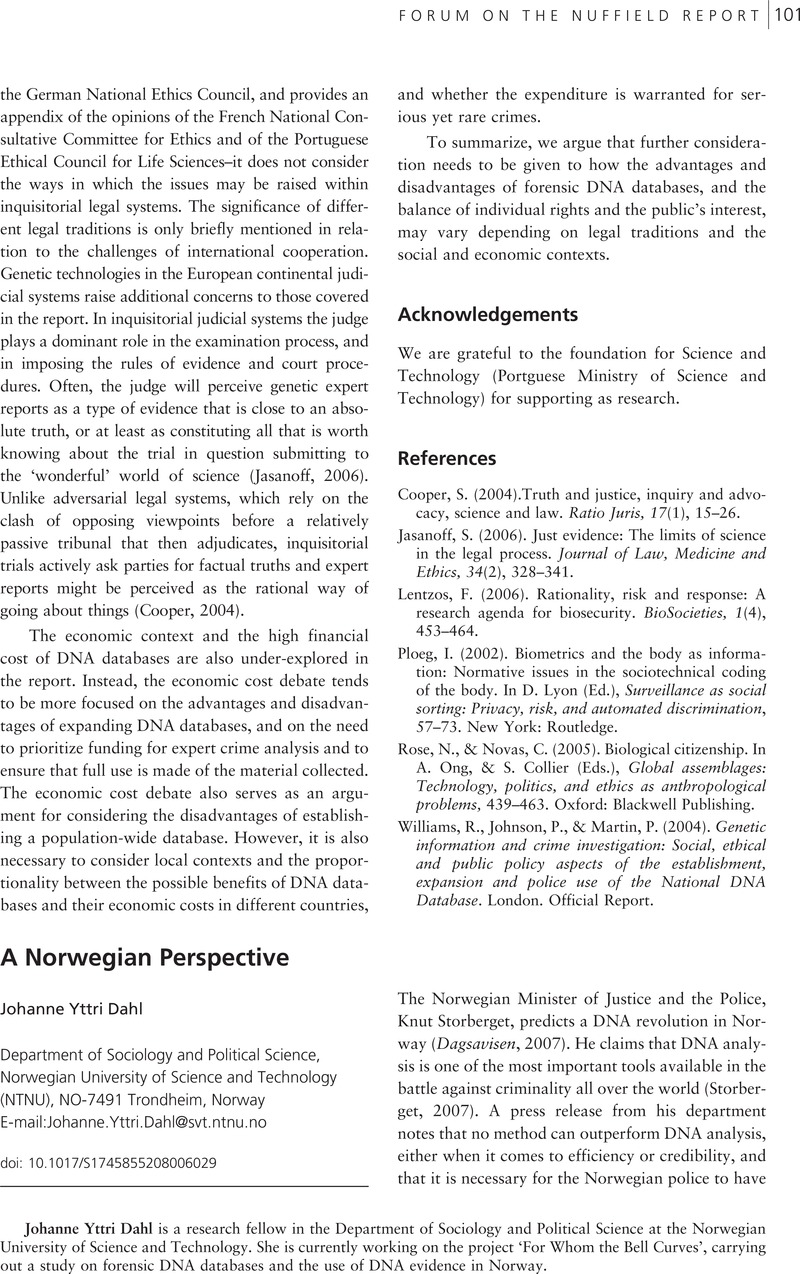 A Norwegian Perspective | BioSocieties | Cambridge Core