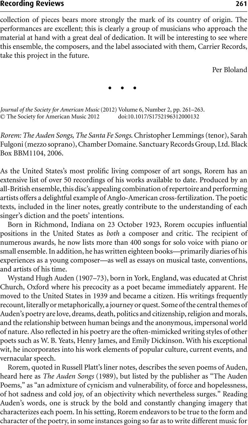 Rorem: The Auden Songs, The Santa Fe Songs  Christopher