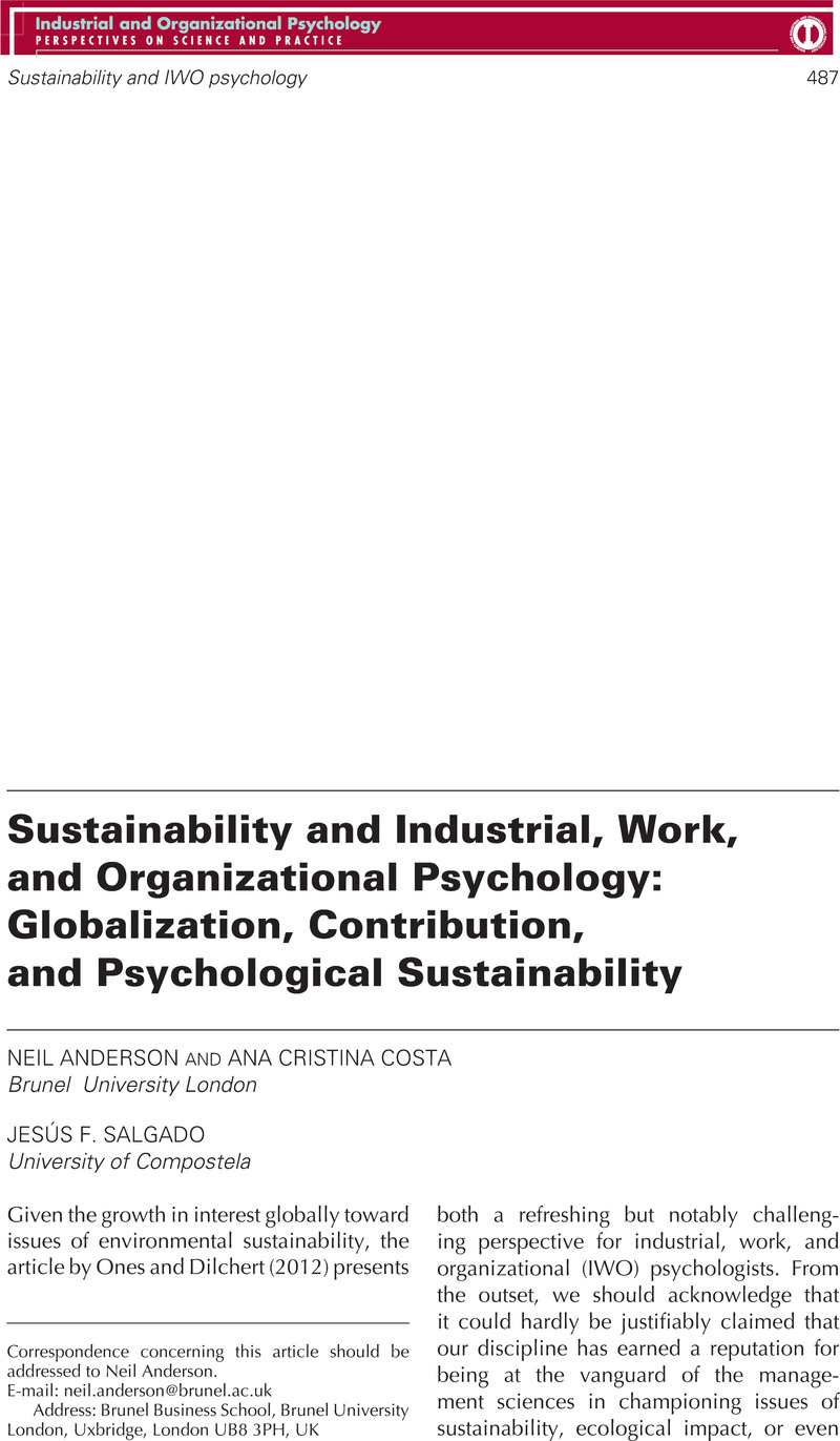articles related to industrial organizational psychology