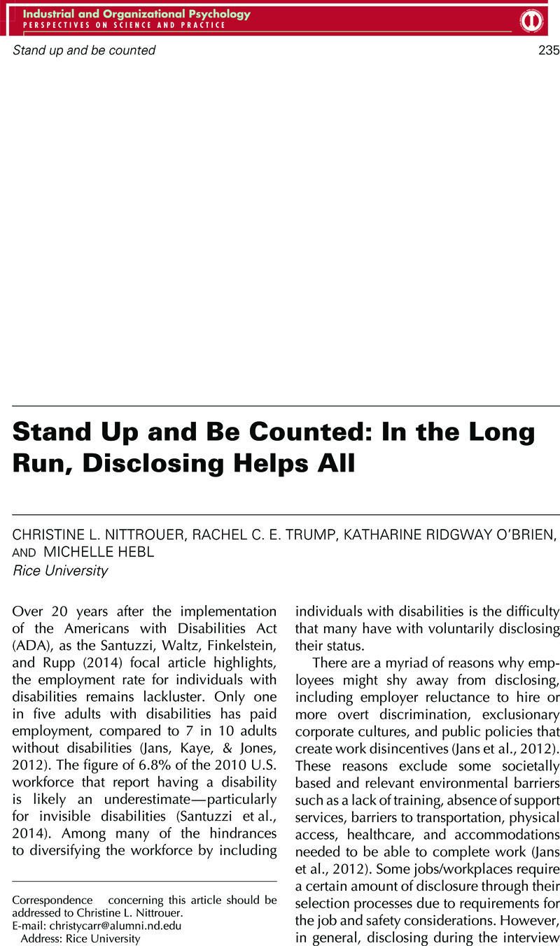 Stand Up and Be Counted: In the Long Run, Disclosing Helps All