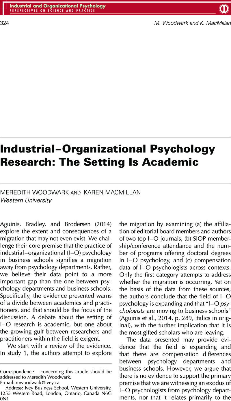 organizational psychology research