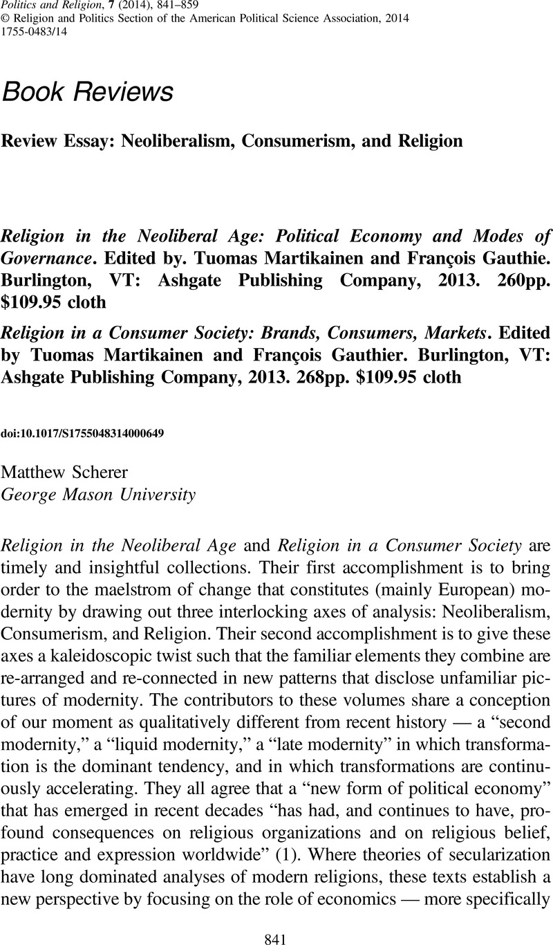 religion in the neoliberal age political economy and modes of religion in the neoliberal age political economy and modes of governance edited by tuomas martikainen and franatildesectois gauthie