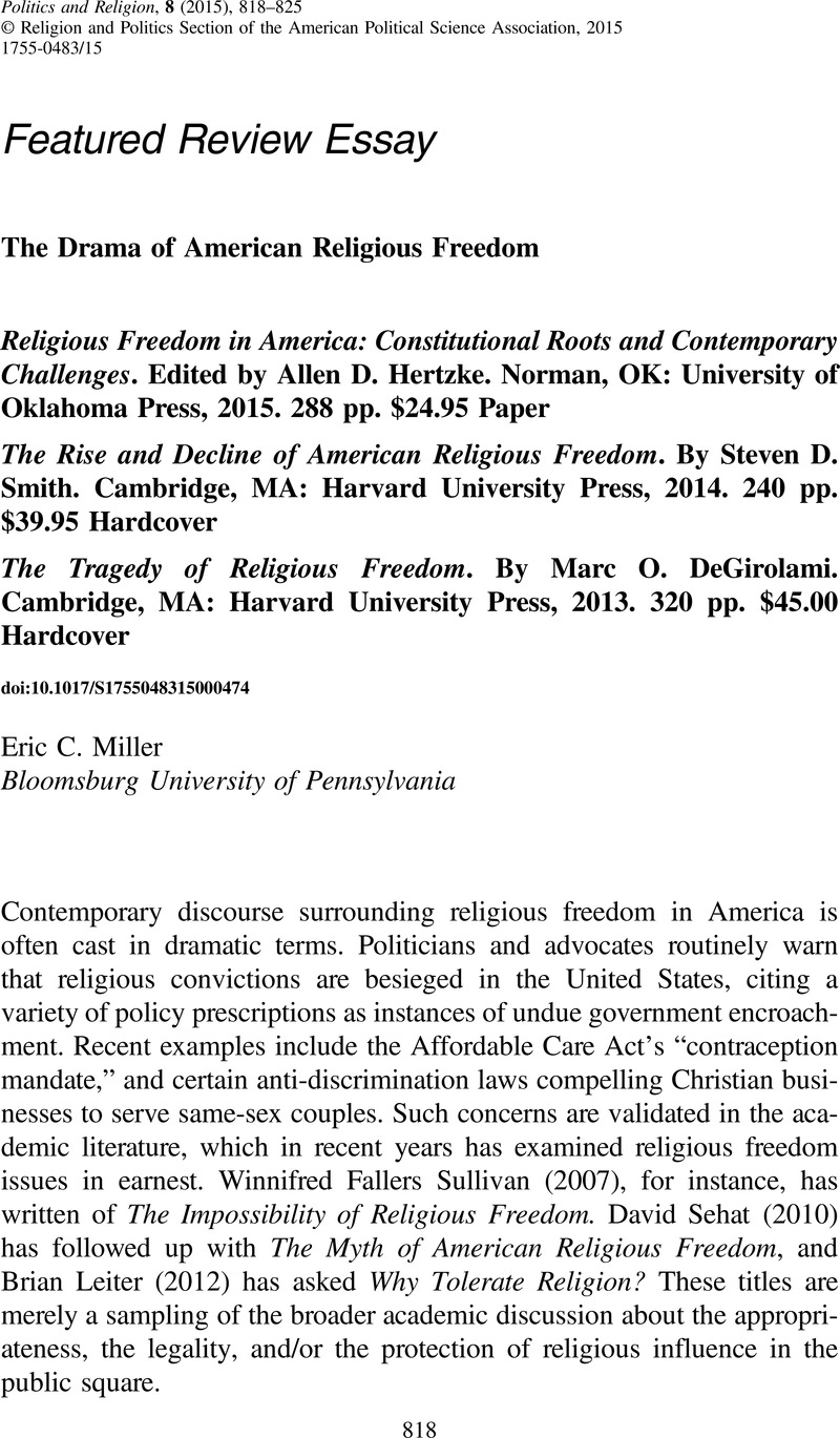 The Drama Of American Religious Freedom  Religious Freedom In  Copyright