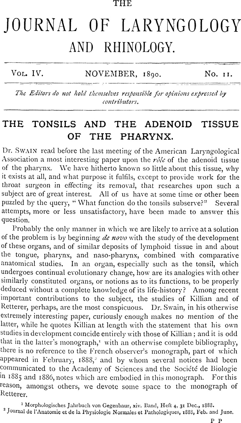 The Tonsils and the Adenoid Tissue of the Pharynx   The Journal of ...