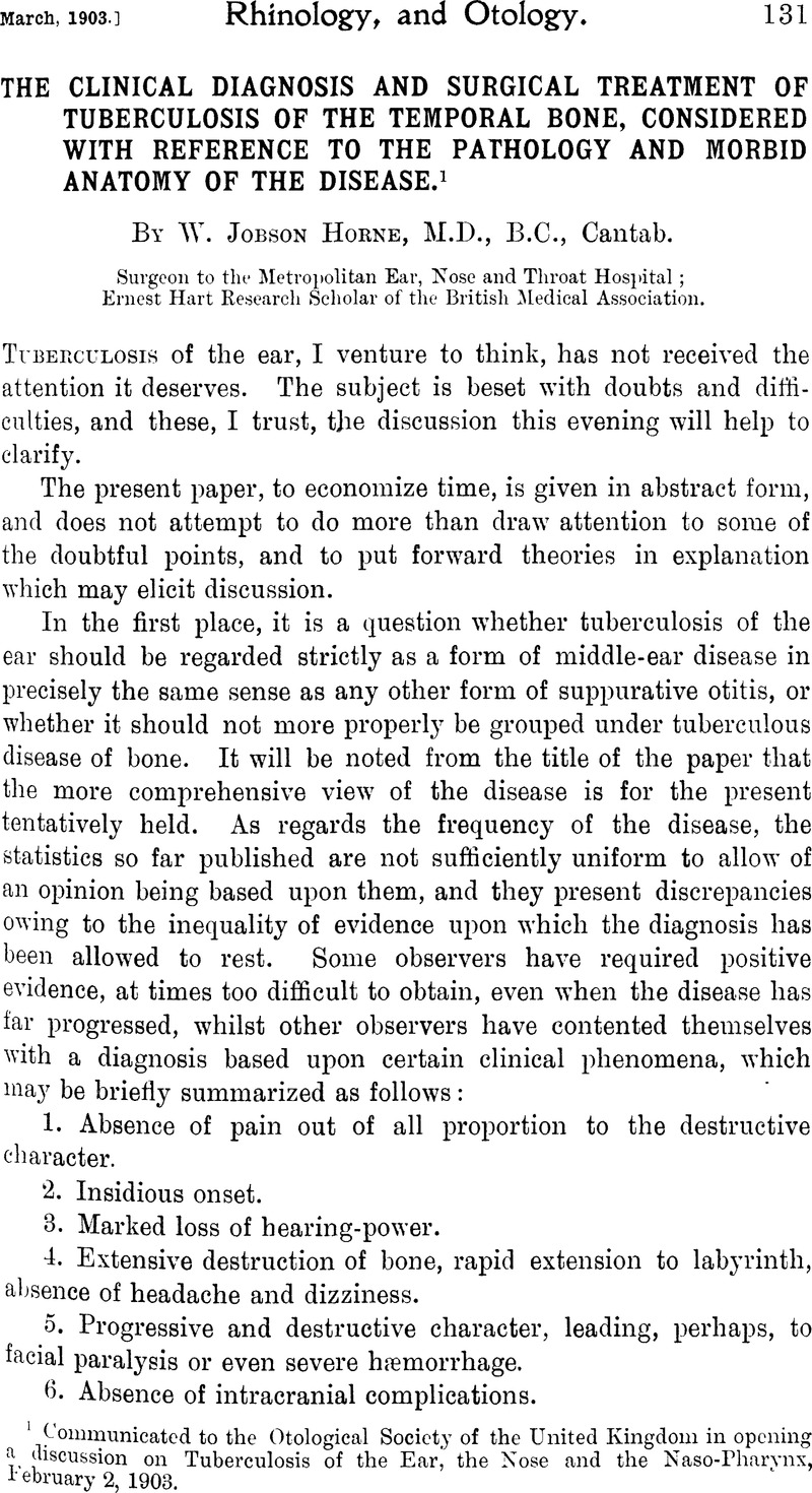 The Clinical Diagnosis And Surgical Treatment Of Tuberculosis Of The