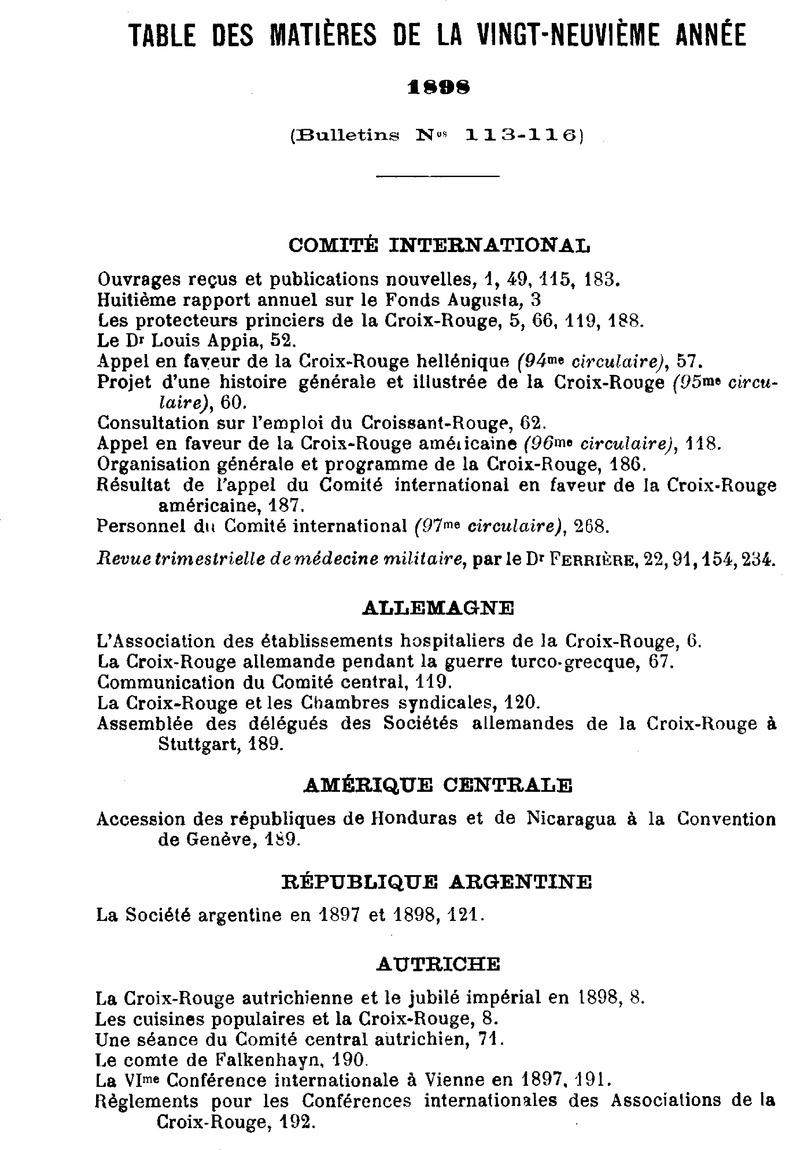 Table Centrale De Cuisine table des matières de la vingt-neuvième année 1898