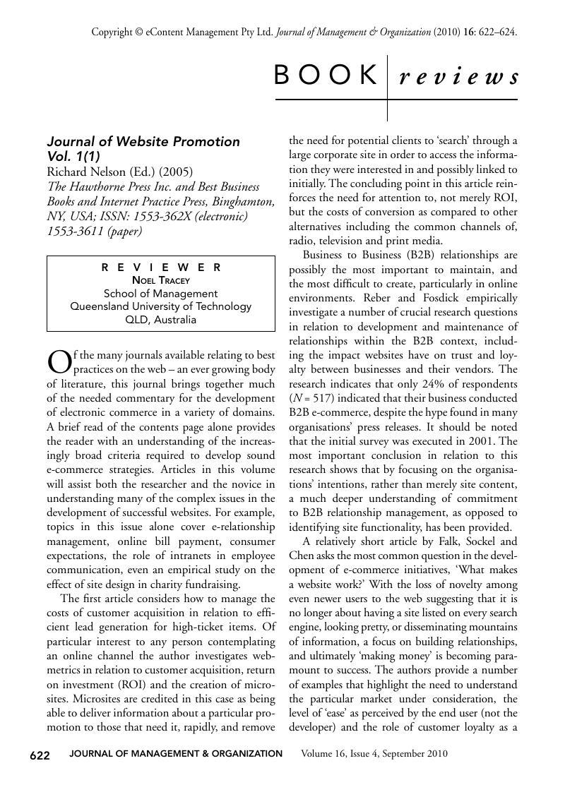 Journal of Website Promotion Vol  1(1), Richard Nelson (Ed