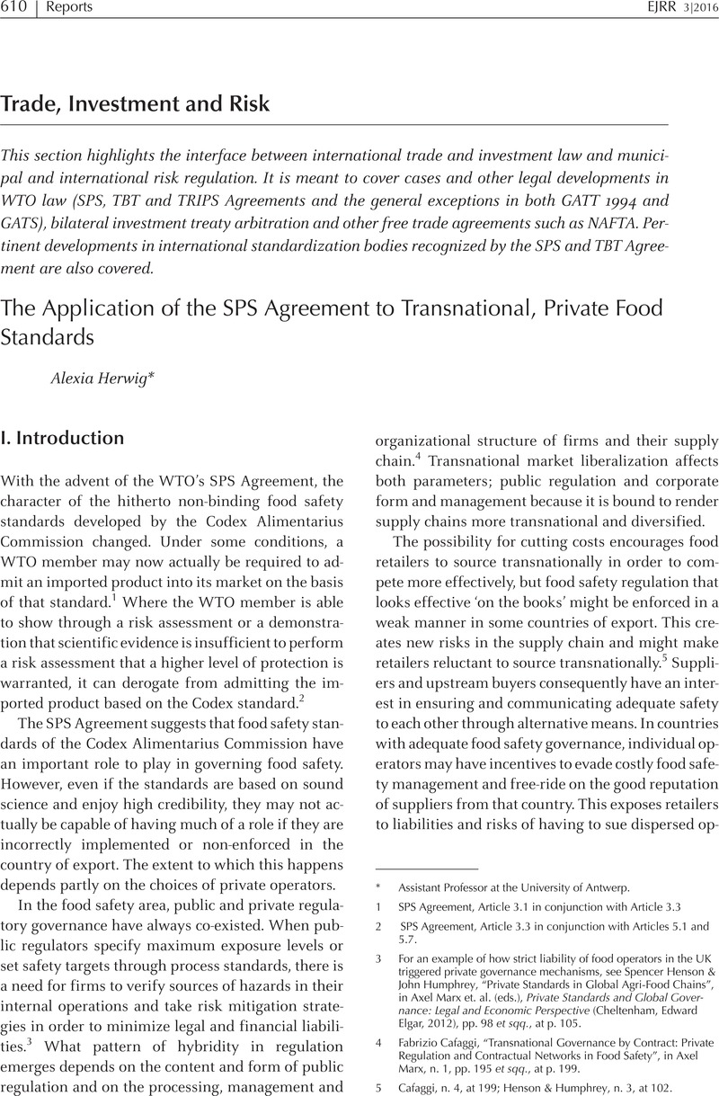 The Application Of The Sps Agreement To Transnational Private Food