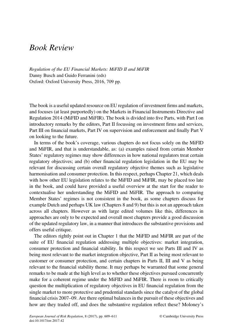 Regulation of the EU Financial Markets: MiFID II and MiFIR
