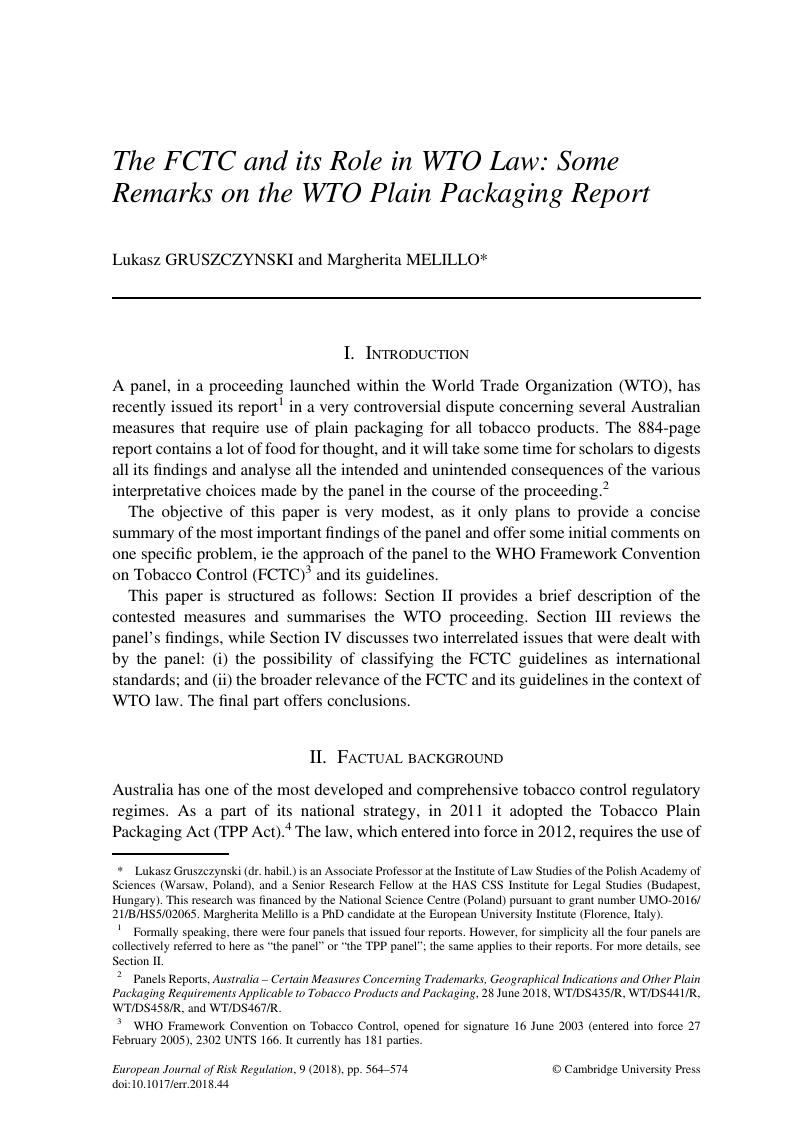 The FCTC and its Role in WTO Law: Some Remarks on the WTO