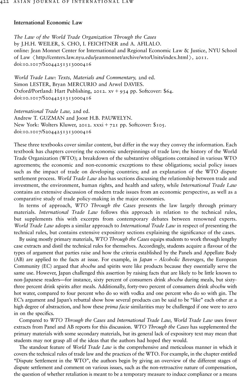 World Trade Law Text Materials and Commentary