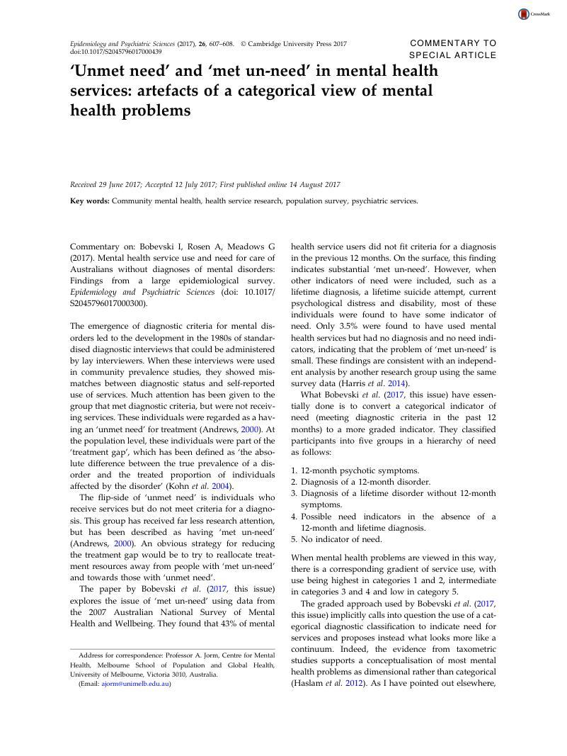 Unmet Need And Met Un Need In Mental Health Services Artefacts