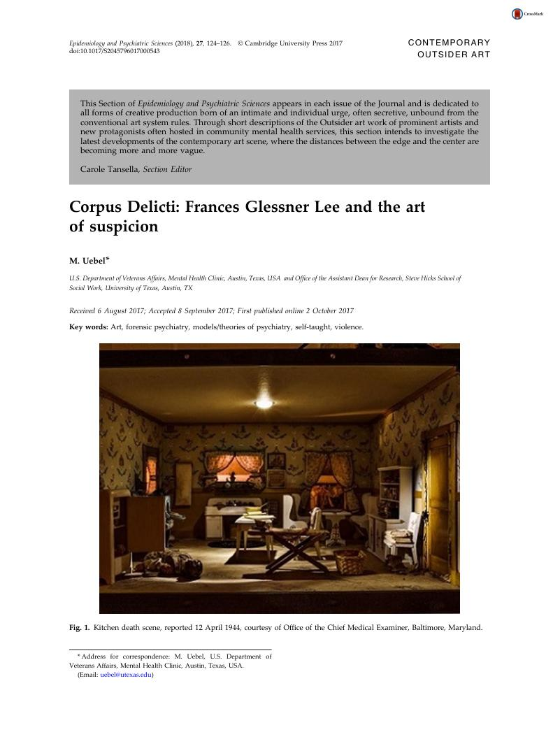 Corpus Delicti: Frances Glessner Lee and the art of
