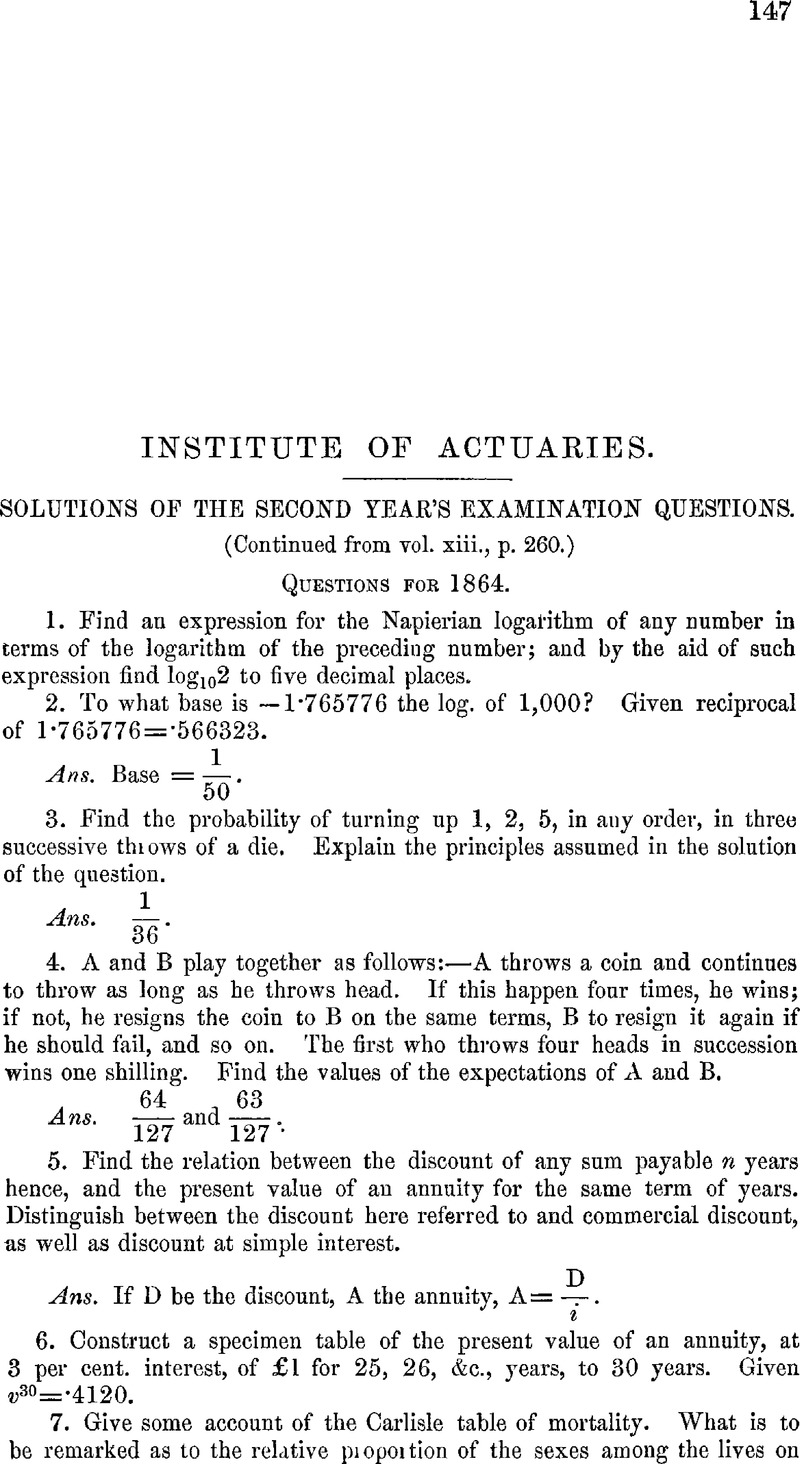 Solutions of the Second Year's Examination Questions (Continued from