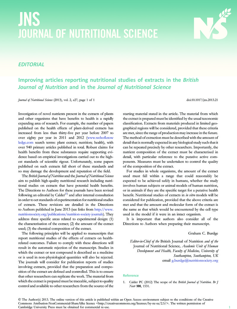 Improving articles reporting nutritional studies of extracts