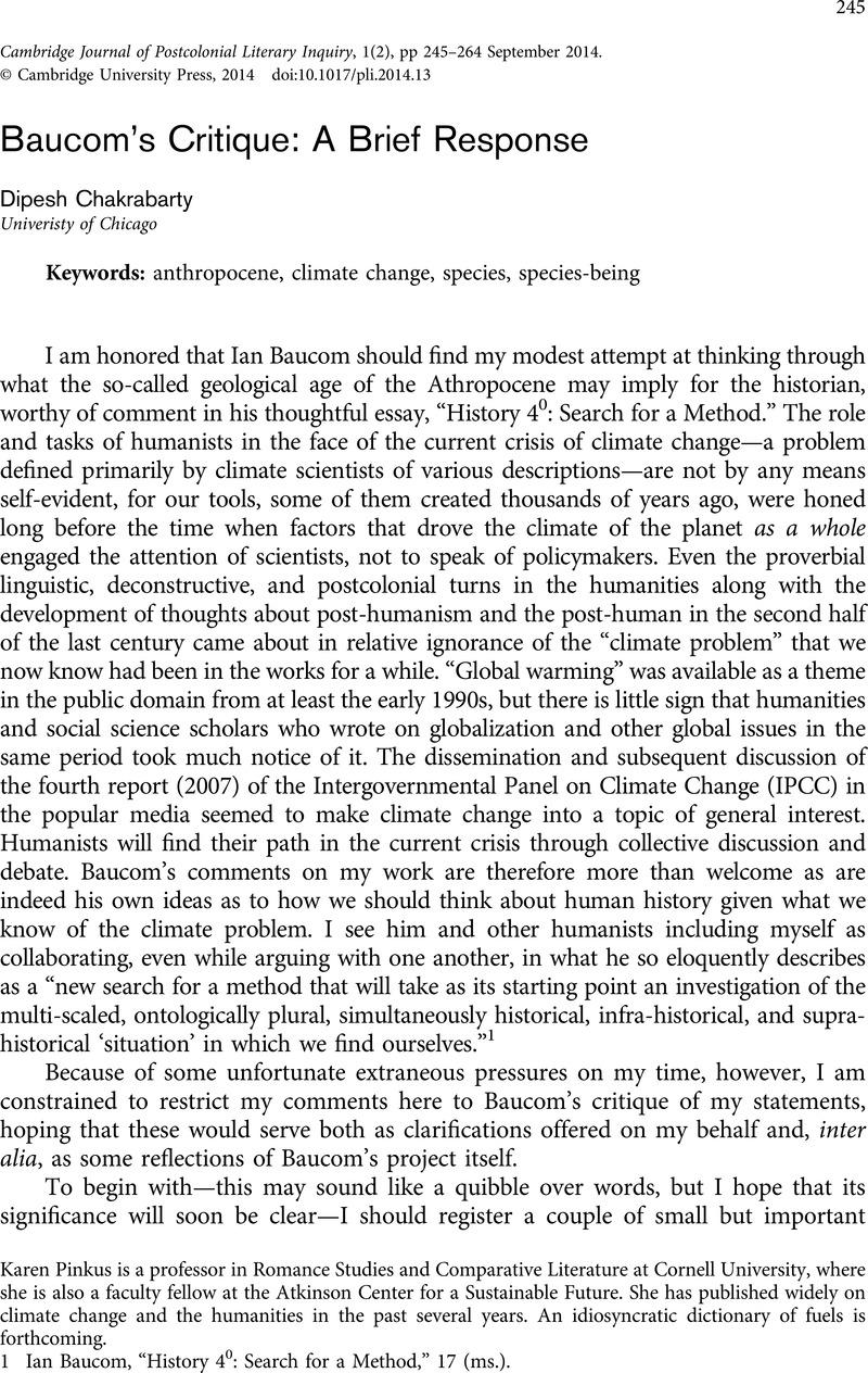 Baucom's Critique: A Brief Response   Cambridge Journal of