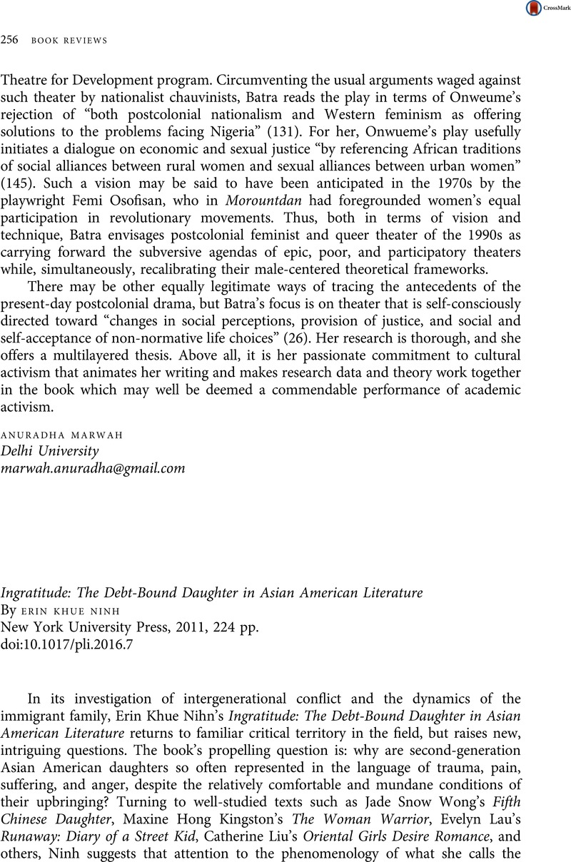 Ingratitude The Debt Bound Daughter In Asian American