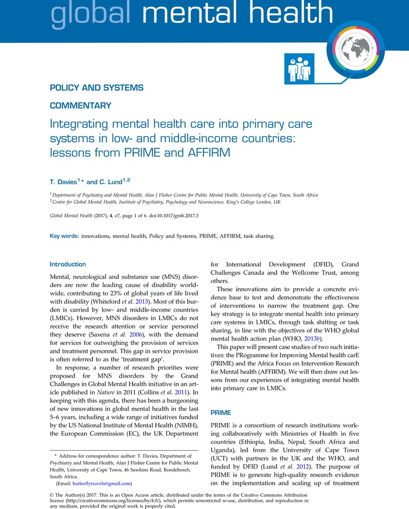 Integrating Mental Health Care Into Primary Care Systems In Low And