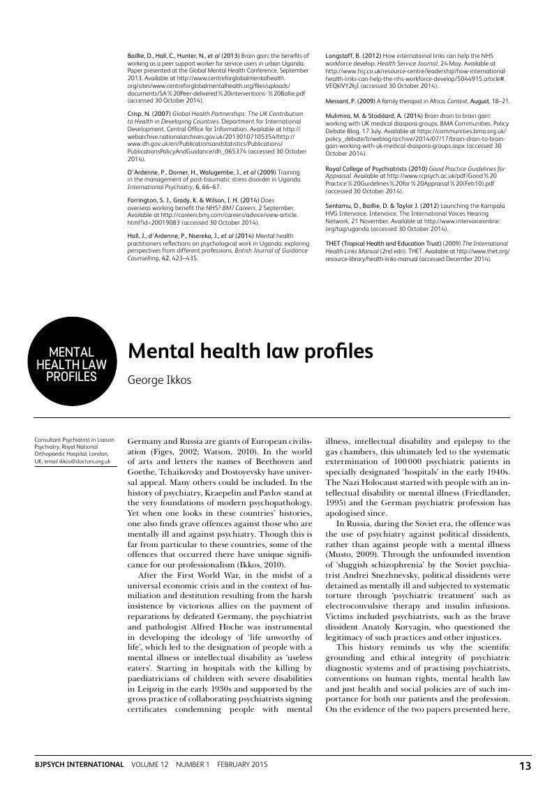 Mental health law profiles | BJPsych International | Cambridge Core