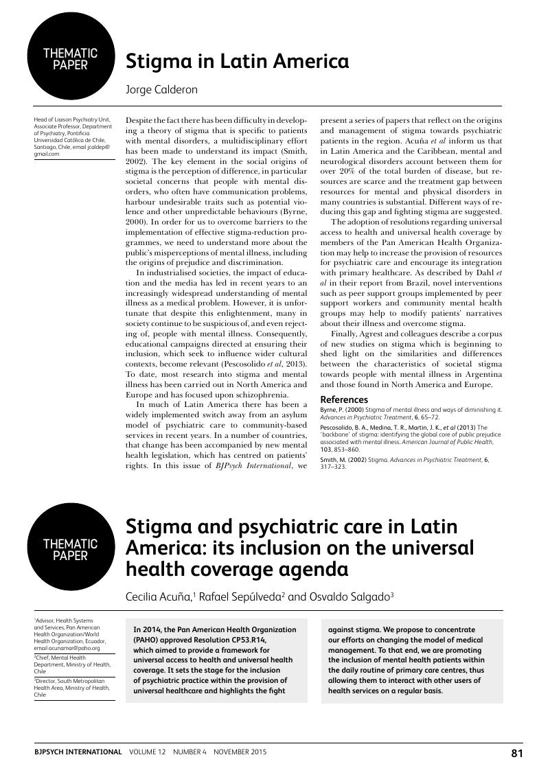 Stigma In Latin America Bjpsych International Cambridge Core
