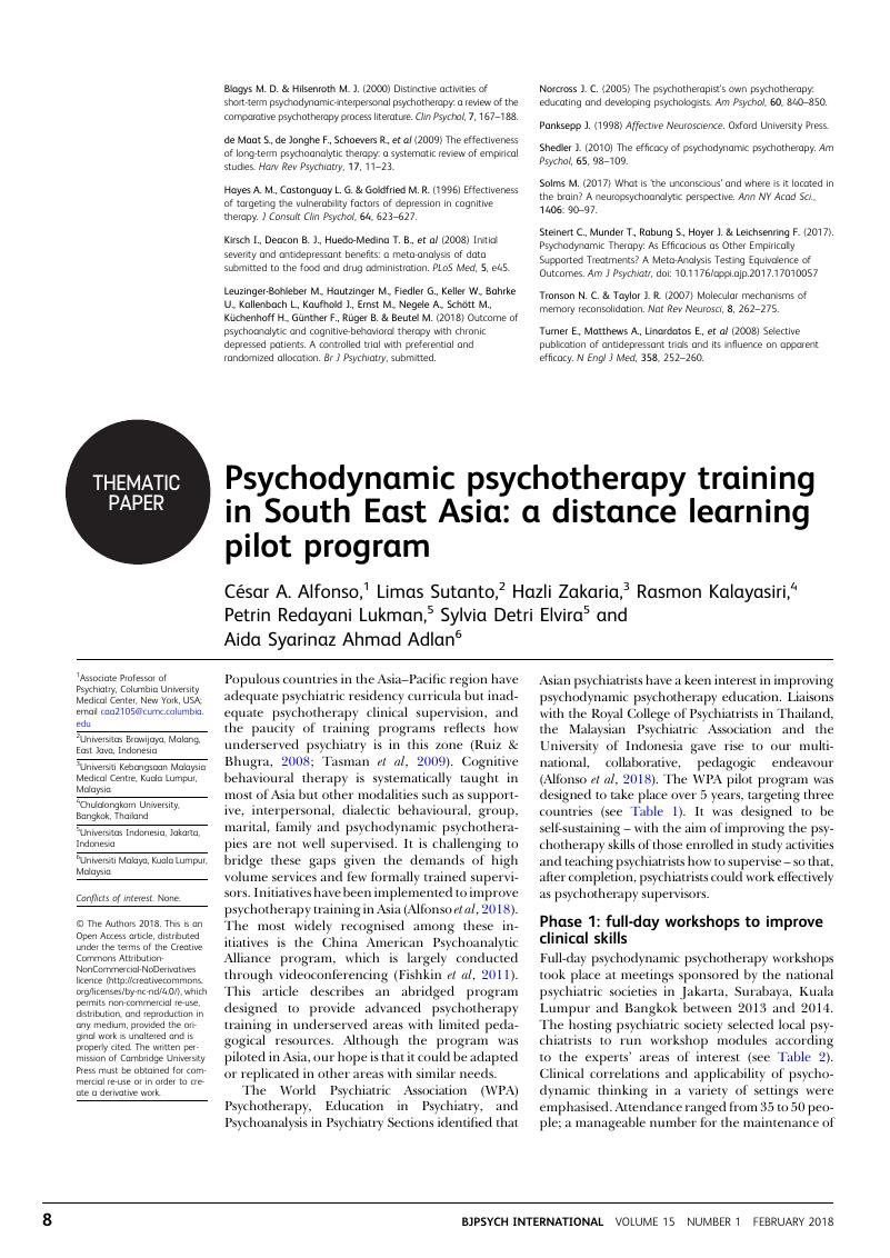 Psychodynamic psychotherapy training in South East Asia: a