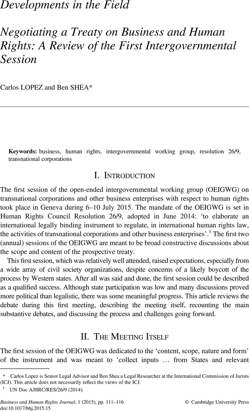 Negotiating a Treaty on Business and Human Rights: A Review of the