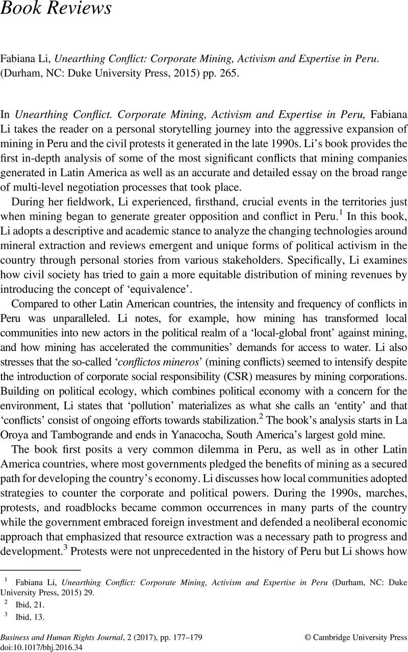 Fabiana Li, Unearthing Conflict: Corporate Mining, Activism and Expertise  in Peru. (Durham, NC: Duke University Press, 2015) pp. 265.