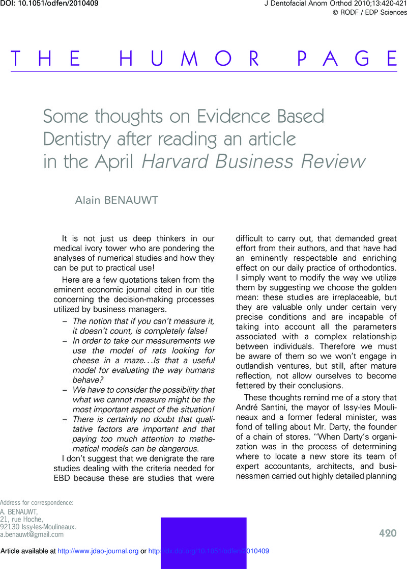 Some thoughts on Evidence Based Dentistry after reading an