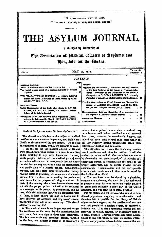 Medical Certificates Under The New Asylums Act The Asylum Journal