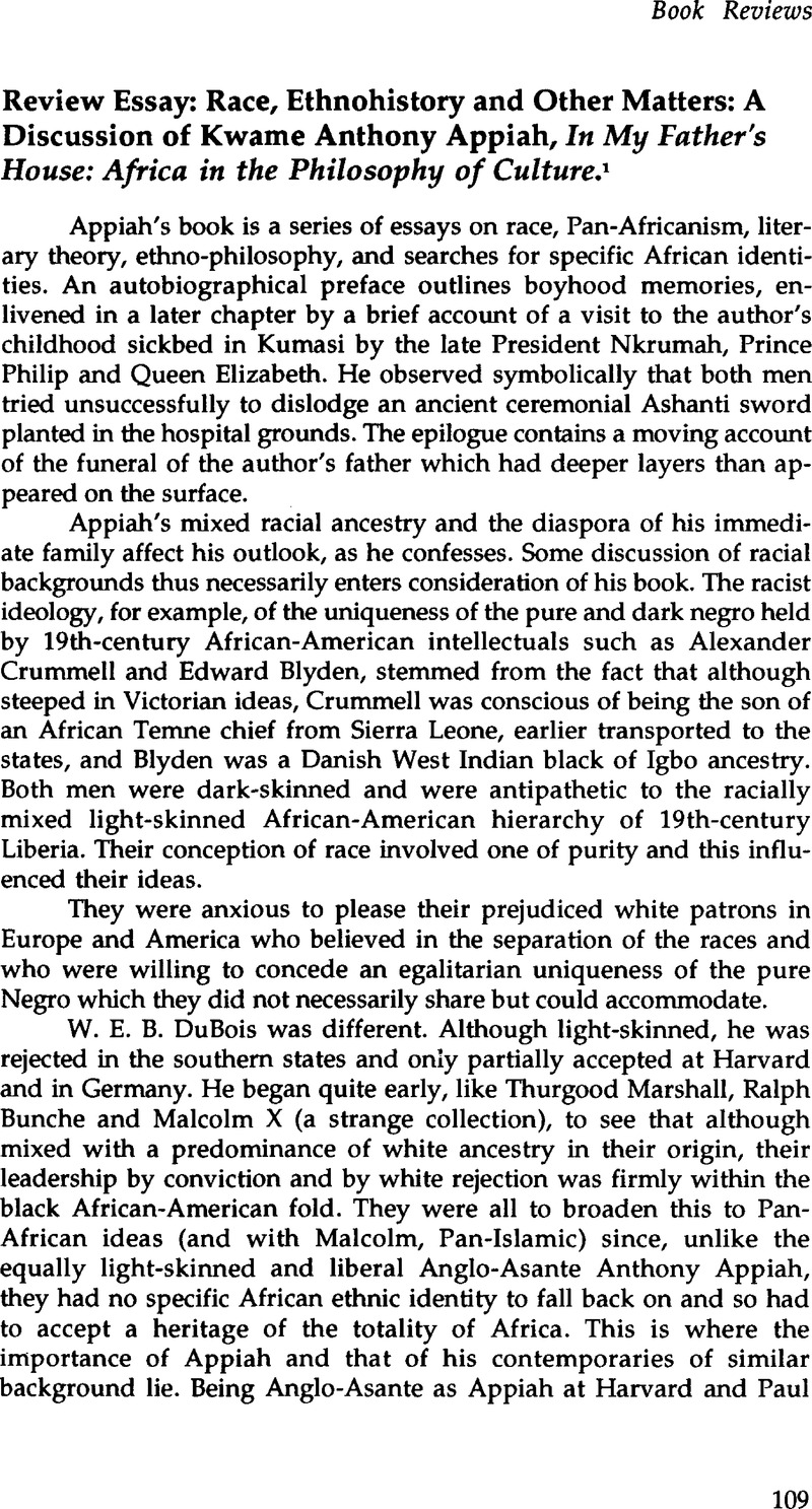 racial identities appiah summary
