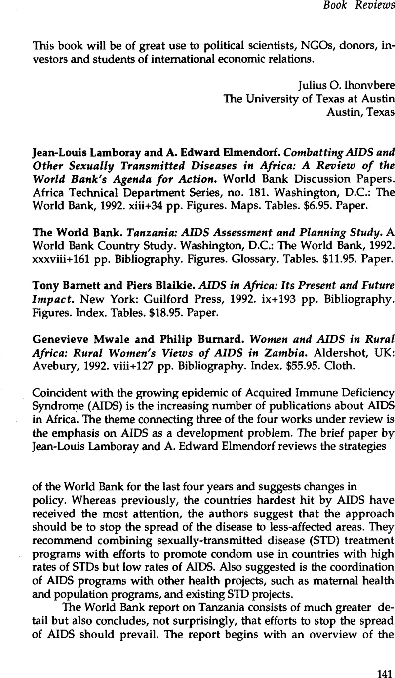 Sexually transmitted diseases special emphasis on aids in africa
