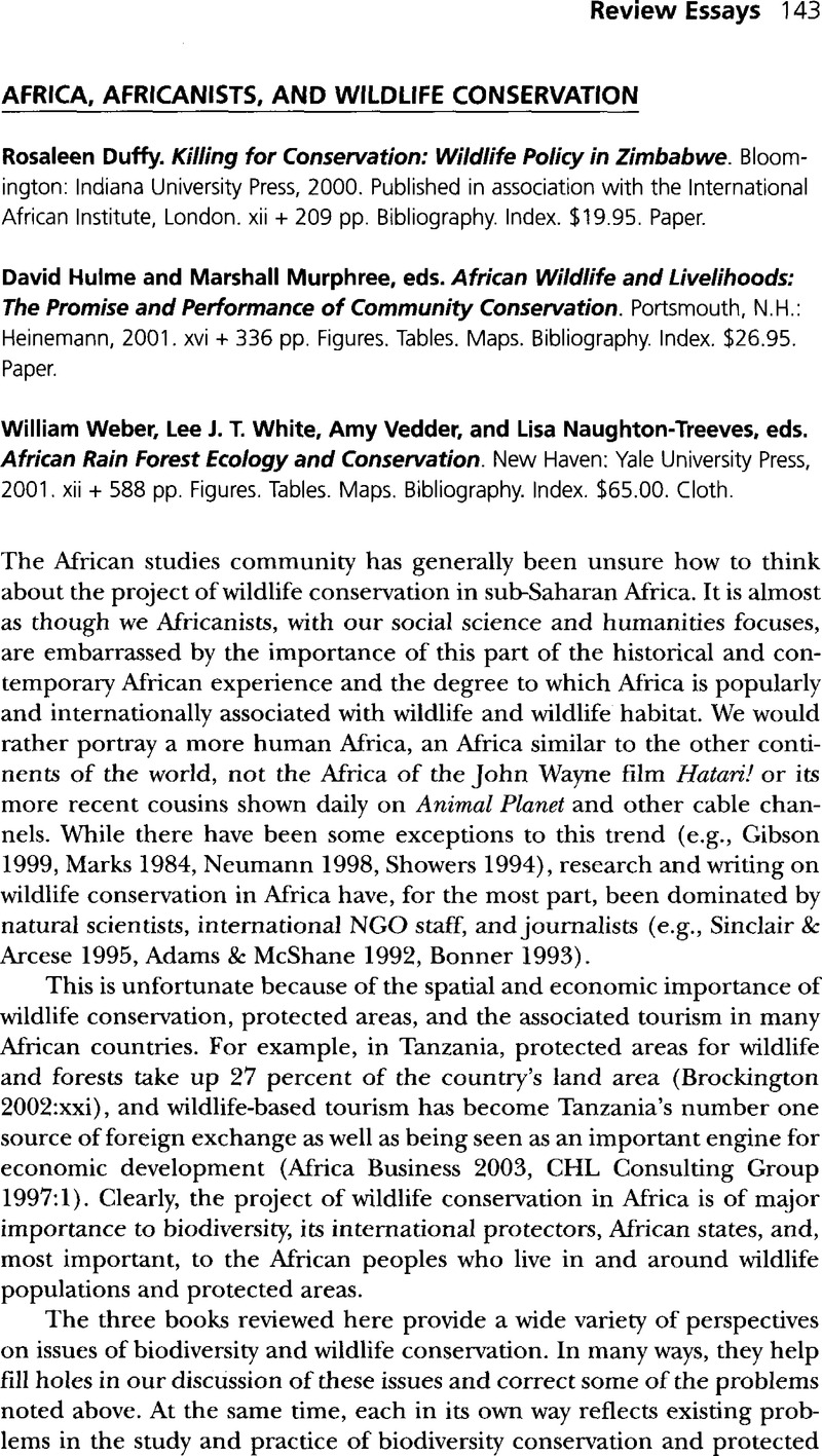 africa africanists and wildlife conservation african studies africa africanists and wildlife conservation