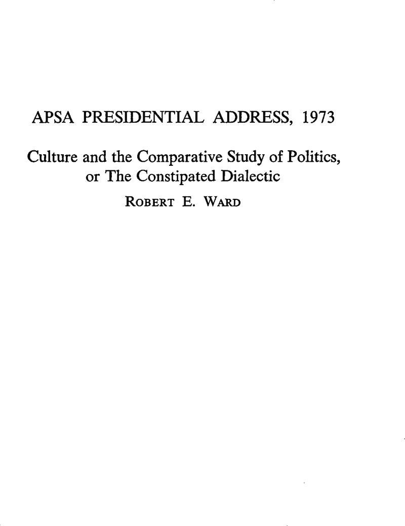 apsa presidential address title page american political apsa presidential address 1973 title page