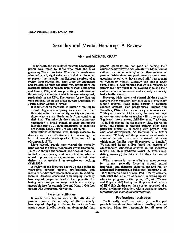 Mental retardation sex reproduction rights