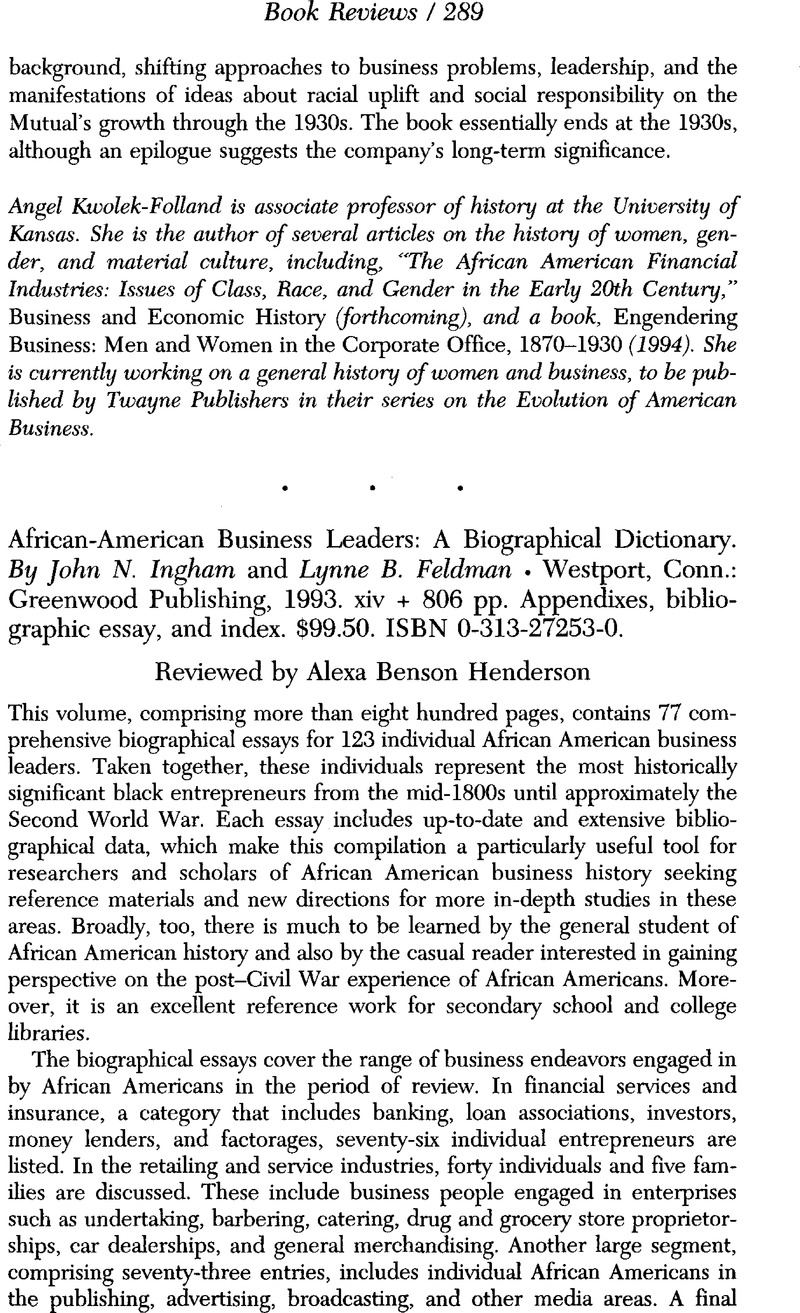 African-American Business Leaders: A Biographical Dictionary ...