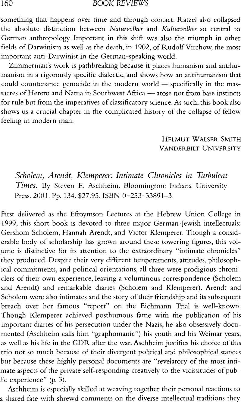 Scholem, Arendt, Klemperer