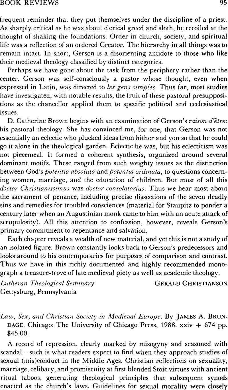 Christian europe in law medieval sex society