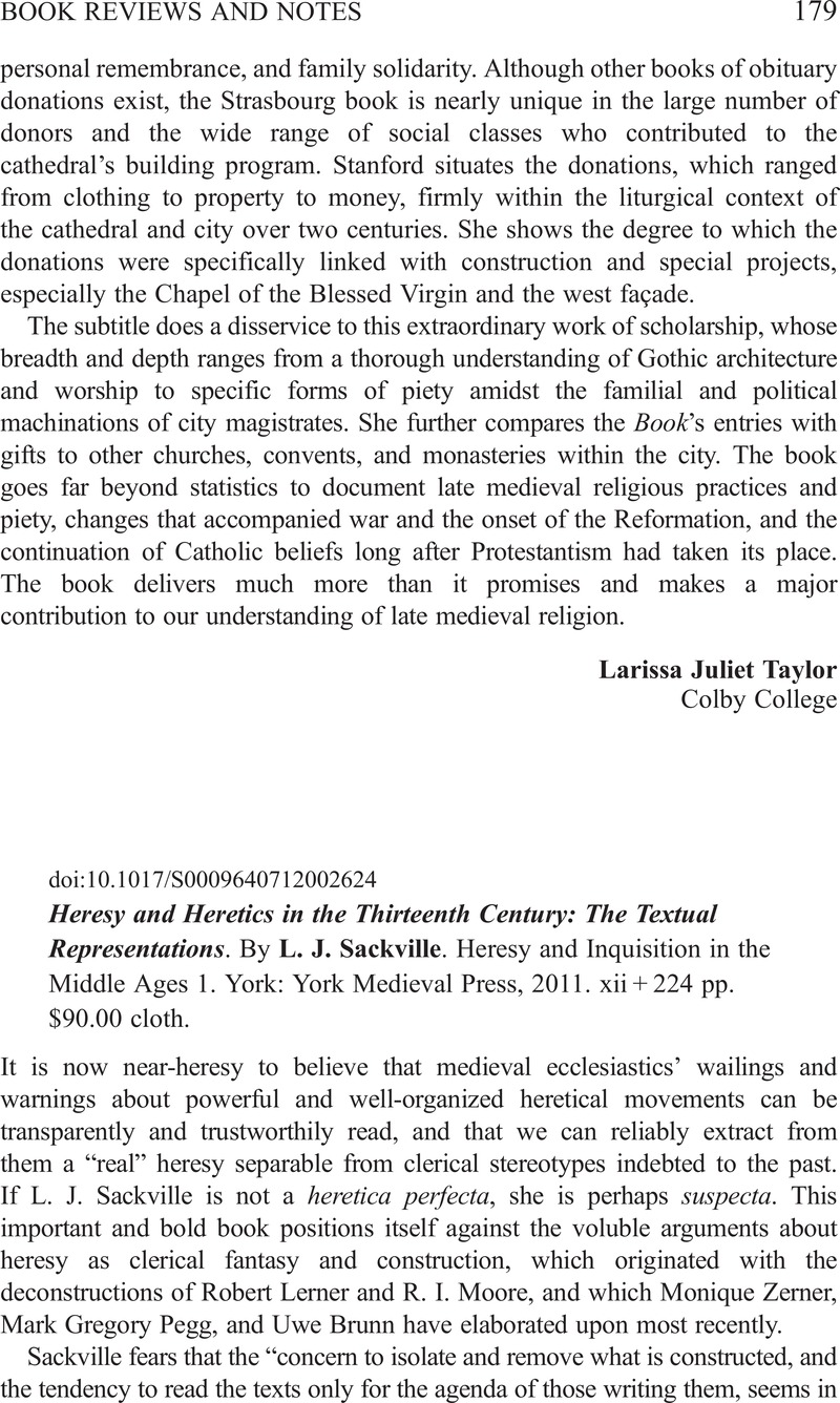 Heresy and Heretics in the Thirteenth Century: The Textual Representations