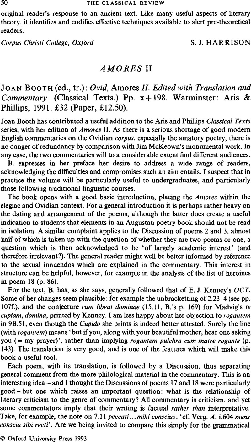 Amores II - BoothJoan (ed., tr.): Ovid, Amores II. Edited with ...