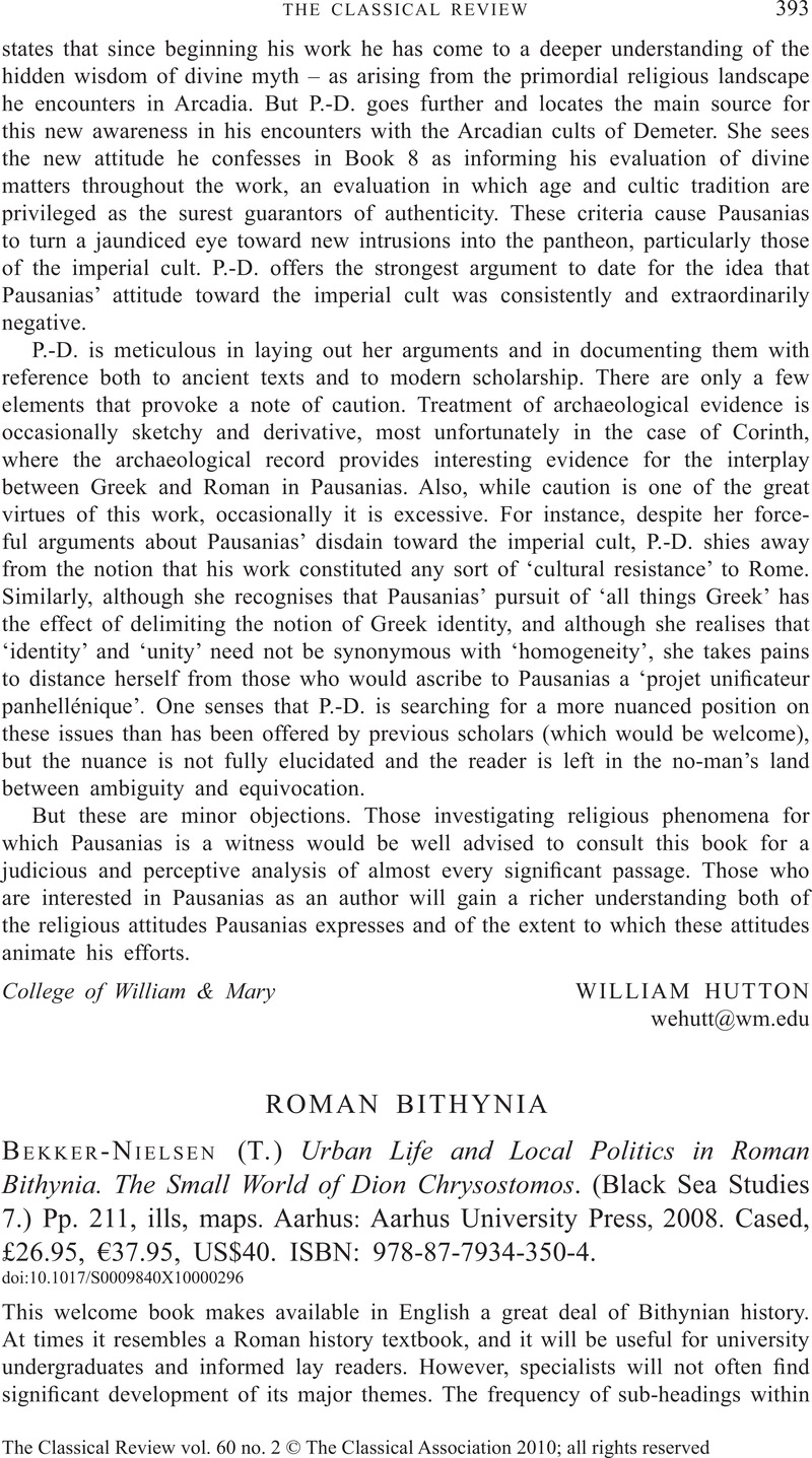 Urban Life and Local Politics in Roman Bithynia: The Small World of Dion Chrysostomos